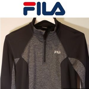 Sport Performance Pullover Jacket-FILA-Gray-Black